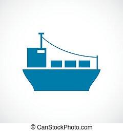 teherhajó, vektor, ikon