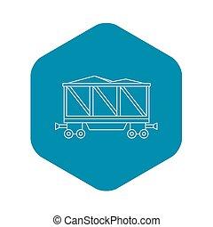 tehervagon, mód, áttekintés, ikon, megrakott, vasút
