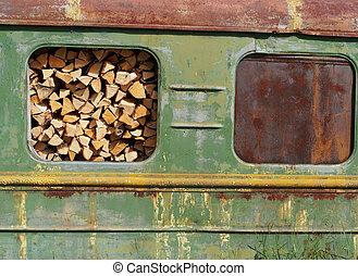 tehervagon, vasút, erdő