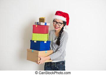 tehetség, ázsiai, szent, leány, kalap, karácsony