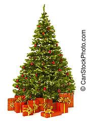 tehetség, ajándék, firtree, karácsony, piros, fa, doboz, karácsony
