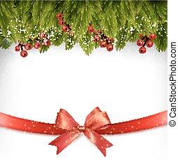 tehetség, bow., dekoráció, vector., ünnep, karácsony, piros