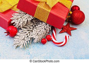 tehetség, concept., fenyő, elágazik, struktúra, fagyasztott, háttér, dekoráció, karácsony, piros ökölvívás, stukkó, karácsony, zöld, tél, kék