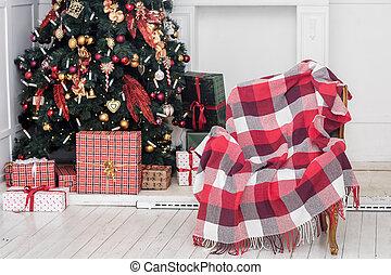 tehetség, fa, dobozok, belső, fireplace., karácsony