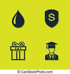 tehetség, fokozatokra osztás, állhatatos, diplomás, dollár, pajzs, sapka, víz, doboz, icon., vektor, csepp
