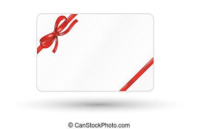 tehetség kártya, noha, piros szalag, és, íj