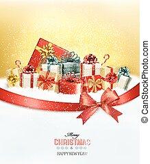 tehetség, presents.and, íj, vektor, háttér, ünnep, karácsony