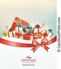 tehetség, presents.and, bow., vektor, háttér, ünnep, karácsony