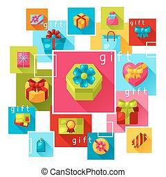 tehetség, színes, dobozok, háttér, vagy, kártya, ünneplés