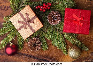 tehetség, vagy, gyertya, karácsony, holidays., új, köszönés, boldog, dekoráció, balls., card., év, dobozok