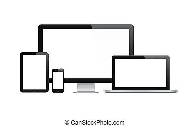 tehnology, komplet, nowoczesny, urządzenia
