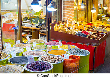 Tehran dried fruits market stall - Dried fruits, nuts and...