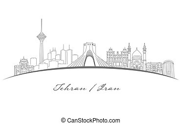 Tehran Famous Landmarks Panorama, Hand Drawn Outline Vector Sketch