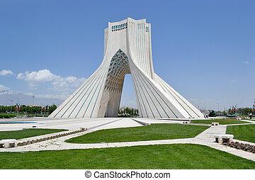 tehran, gateway, azadi, monumento, construído, ligado, a,...