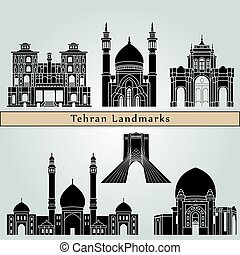 Tehran landmarks and monuments isolated on blue background in editable vector file