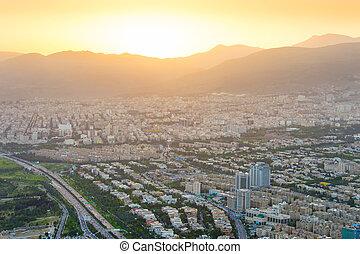 Tehran skyline at sunset, Iran