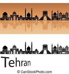 Tehran skyline in orange background in editable vector file