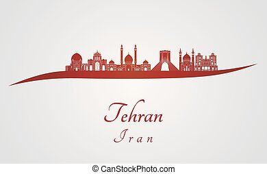 Tehran skyline in red and gray background in editable vector file