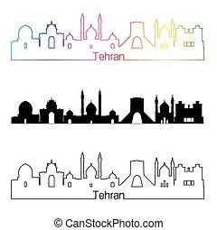 Tehran skyline linear style with rainbow in editable vector file
