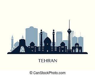 Tehran skyline, monochrome silhouette. Vector illustration.