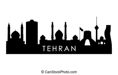 Tehran skyline silhouette. Black Tehran city design isolated on white background.