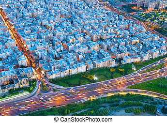 Tehranview from above, Iran - Birds-eye of a highway in...