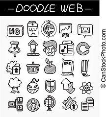 teia, ícone, doodle, jogo