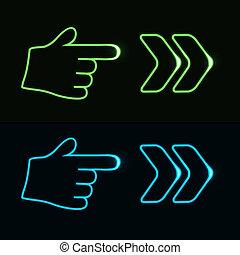 teia, 10, néon, -, eps, mão, seta, vetorial, ponteiro