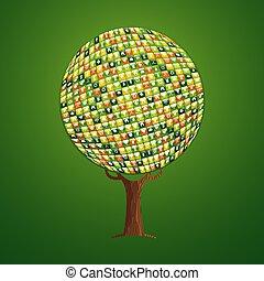 teia, app, ícone, árvore, conceito, para, meio ambiente, ajuda