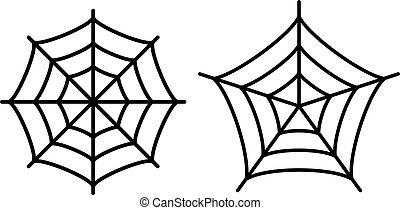 teia, aranha, ícone