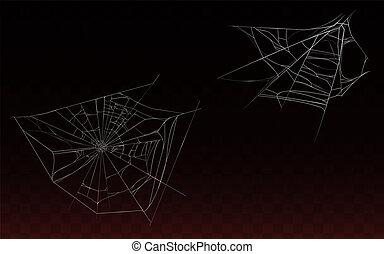 teia, aranha, cobrança, realístico, vetorial, cobweb
