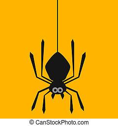 teia, aranha, penduradas