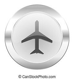 teia, avião, cromo, isolado, ícone