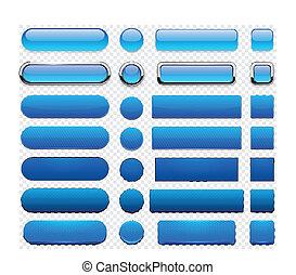 teia, azul, modernos, buttons., high-detailed