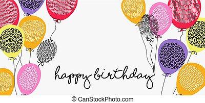 teia, balões, partido aniversário, bandeira, feliz