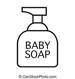teia, banheiro, vetorial, 10., esboço, magra, sabonetes, projetado, acessórios, ilustração, isolado, app., estilo, cosméticos, icon., bebê, linha, eps, desenho, white.