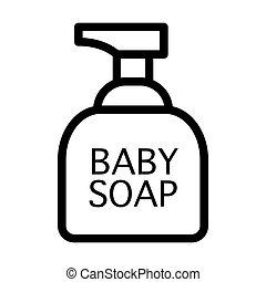 teia, banheiro, vetorial, 10., esboço, sabonetes, acessórios, ilustração, isolado, app., white., estilo, cosméticos, icon., bebê, linha, eps, desenho, projetado
