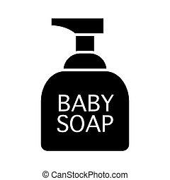 teia, banheiro, vetorial, 10., sólido, sabonetes, projetado, acessórios, ilustração, isolado, app., estilo, cosméticos, white., bebê, icon., eps, desenho, glyph