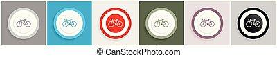 teia, bicicleta, aplicações, jogo, móvel, vetorial, desenho, 6, ilustrações, opções, ícone