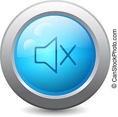 teia, botão, ícone, desligado, mudo