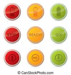 teia, botão, jogo, vário, ícones