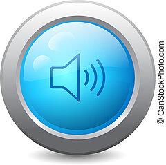 teia, botão, orador, ícone