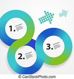 teia, círculo, infographic, modelo