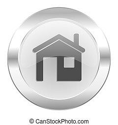teia, casa, cromo, isolado, ícone