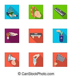 teia, checkered, jogo, elétrico, lixo, ícones, applianc, collection., mãos, bandeira, apartamento, musical, megafone, ecologia, outro, instrumento, manipulação, acabamento, style., gesto, ícone