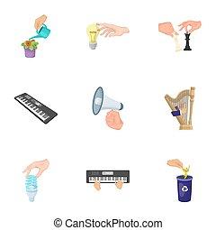 teia, checkered, jogo, elétrico, lixo, ícones, applianc, collection., mãos, bandeira, caricatura, megafone, ecologia, outro, instrumento, manipulação, acabamento, musical, style., gesto, ícone