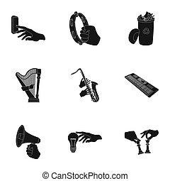 teia, checkered, jogo, elétrico, lixo, ícones, applianc, collection., mãos, bandeira, musical, megafone, ecologia, outro, pretas, instrumento, manipulação, acabamento, style., gesto, ícone