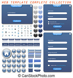 teia, completo, botões, ícones, cobrança, bubbles., ...