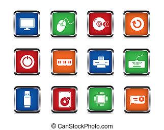 teia, computador, jogo, ícone