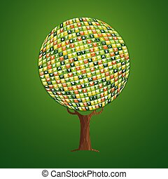 teia, conceito, ajuda, app, árvore, meio ambiente, ícone